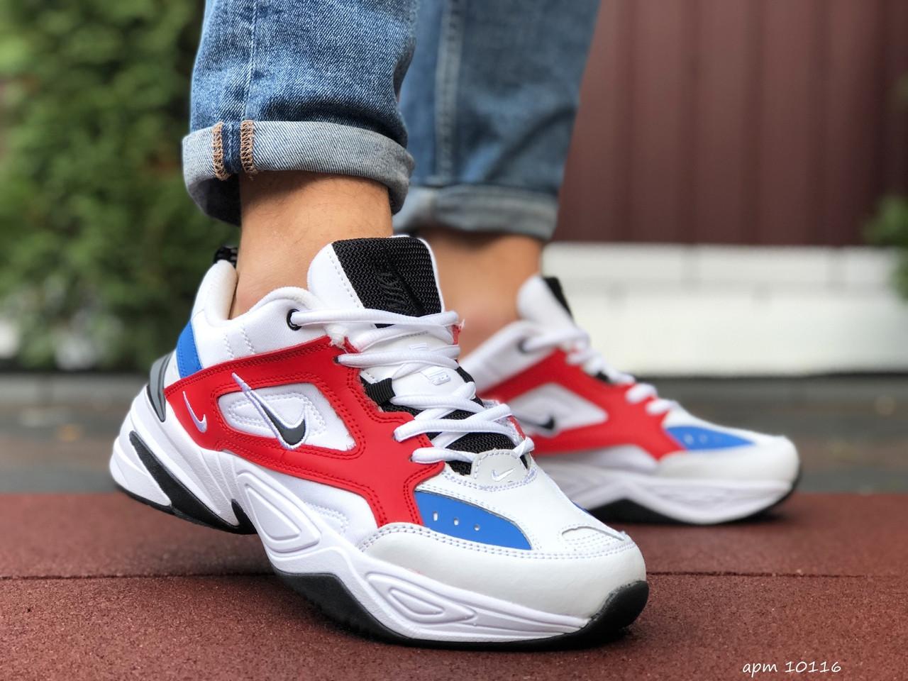 Кросівки чоловічі в стилі Nike M2K Tekno білі з червоним\сині