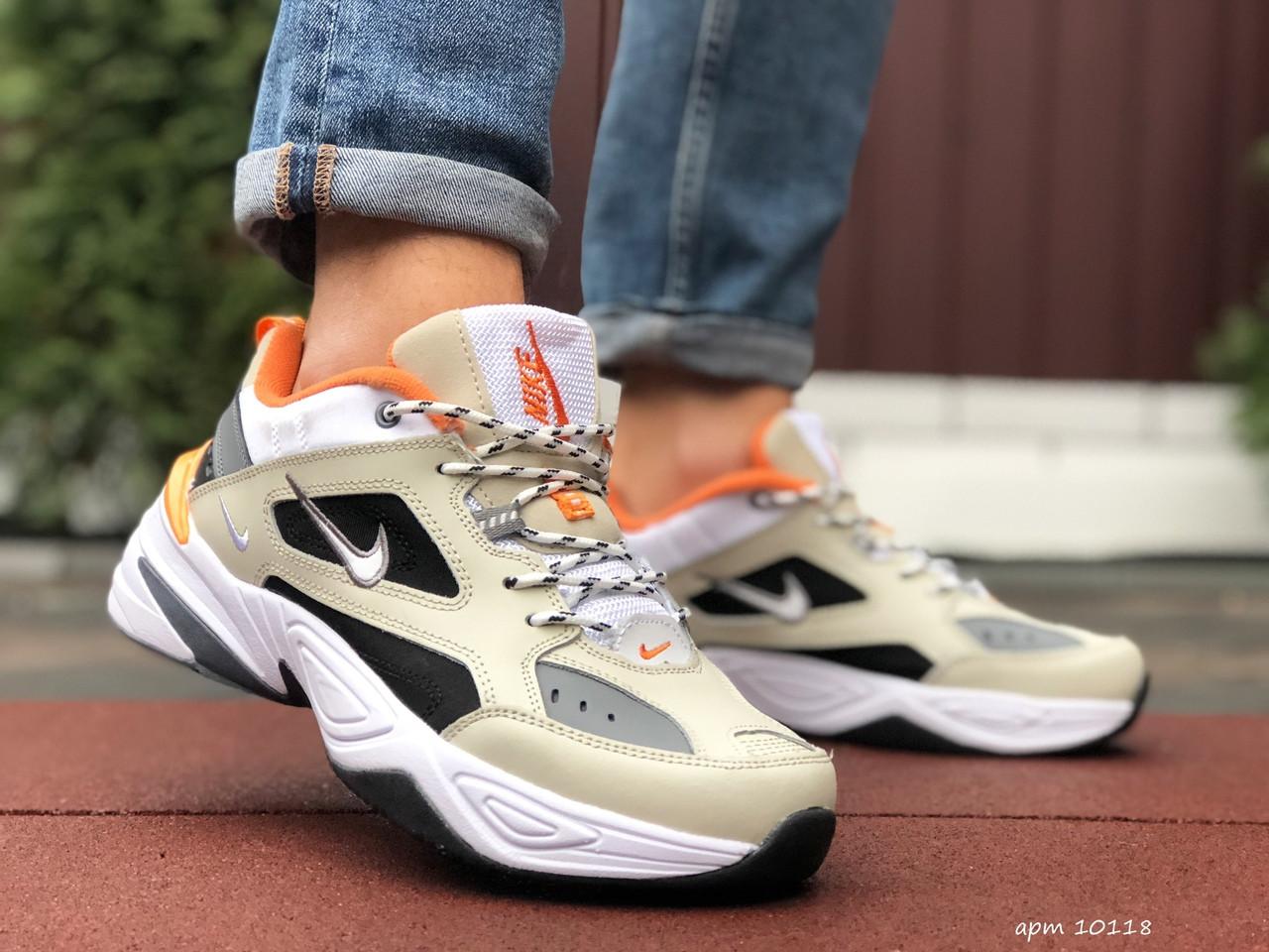 Кросівки чоловічі в стилі Nike M2K Tekno бежеві з помаранчевим