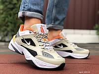 Кросівки чоловічі в стилі Nike M2K Tekno бежеві з помаранчевим, фото 1
