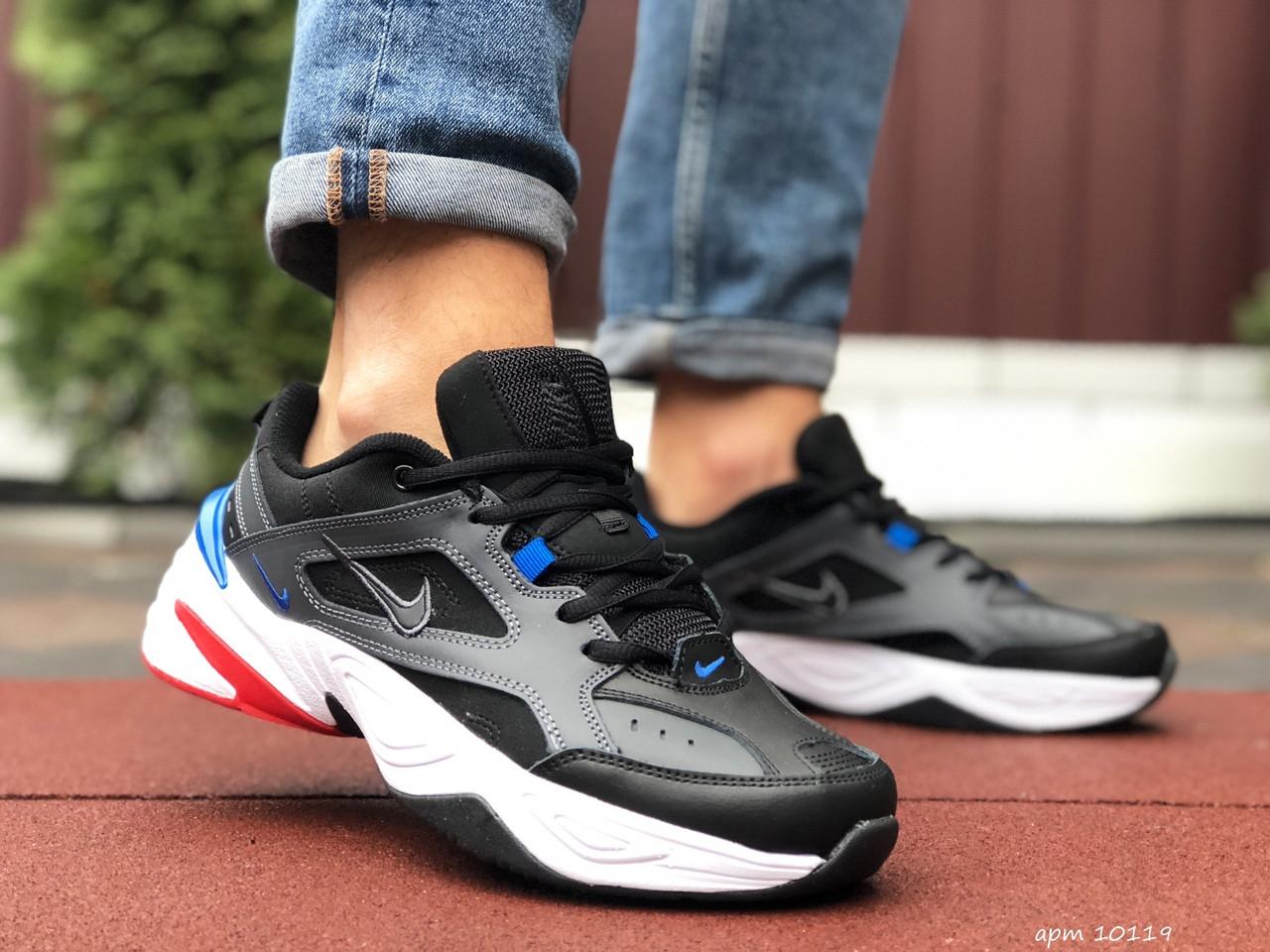 Кросівки чоловічі в стилі Nike M2K Tekno чорні з білим\сині