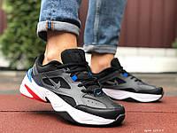 Кросівки чоловічі в стилі Nike M2K Tekno чорні з білим\сині, фото 1