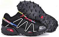 Кросівки чоловічі в стилі Salomon Speedcross 3 чорні з білим\червоні, фото 1