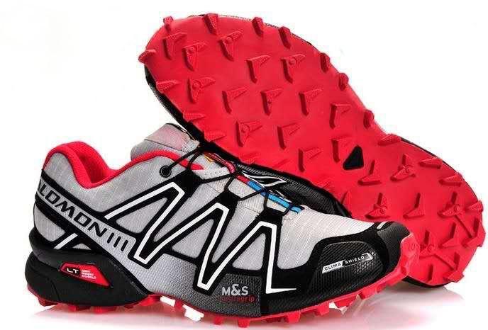 Кросівки чоловічі в стилі Salomon Speedcross 3  світло сірі з червоним