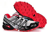 Кросівки чоловічі в стилі Salomon Speedcross 3  світло сірі з червоним, фото 1
