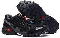 Кросівки чоловічі в стилі Salomon Speedcross 3 чорні з сірим, фото 1