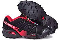 Кросівки чоловічі в стилі Salomon Speedcross 3 чорні з бордовим, фото 1