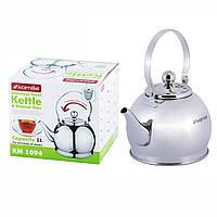 Чайник-заварник Kamille 1л из нержавеющей стали с ситечком KM-1094, фото 1