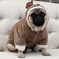 Одежда для собак. Костюм Оленя для собаки. Теплый костюм с подкладкой. Костюм для животных олень XXL
