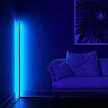 Кутовий підлоговий світлодіодний RGB LED торшер лампа з пультом, фото 7