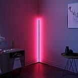 Кутовий підлоговий світлодіодний RGB LED торшер лампа з пультом, фото 3