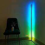 Кутовий підлоговий світлодіодний RGB LED торшер лампа з пультом, фото 2