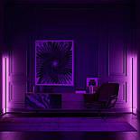 Кутовий підлоговий світлодіодний RGB LED торшер лампа з пультом, фото 5
