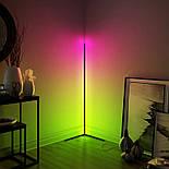 Кутовий підлоговий світлодіодний RGB LED торшер лампа з пультом, фото 6