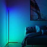 Кутовий підлоговий світлодіодний RGB LED торшер лампа з пультом, фото 4