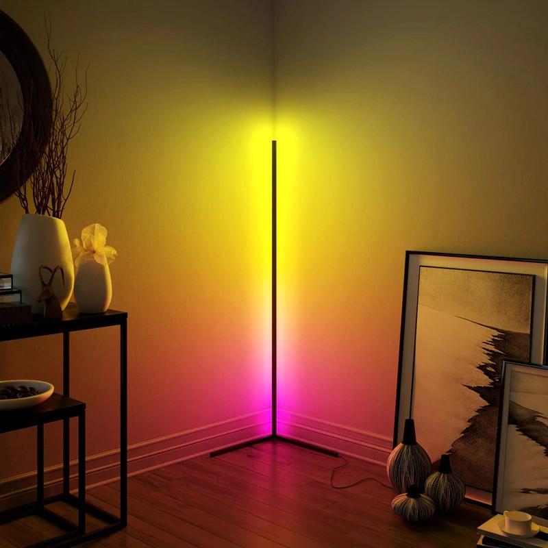 Кутовий підлоговий світлодіодний RGB LED торшер лампа з пультом