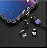 Магнітний USB кабель швидкої зарядки KEYSION 2A (чорний) Lighting,Type-C, Micro USB