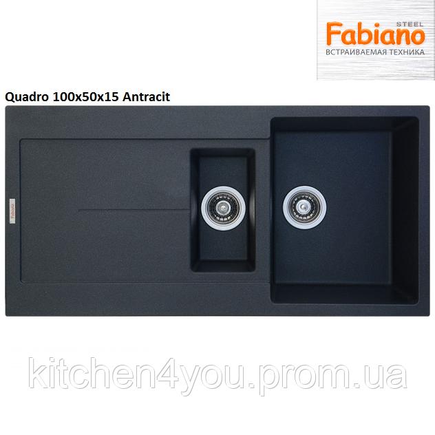 Прямокутна гранітна мийка Fabiano Quadro 100x50x1.5