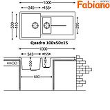 Прямокутна гранітна мийка Fabiano Quadro 100x50x1.5, фото 5