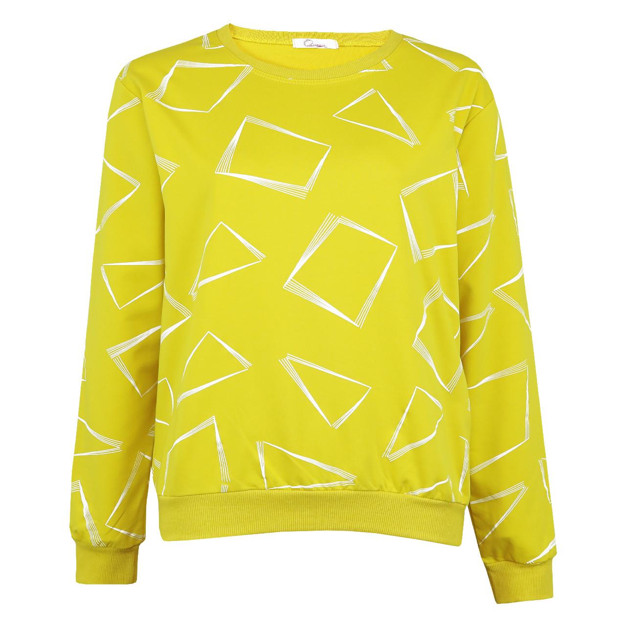 Кофта женская коттоновая желтая, стильный осенний свитшот