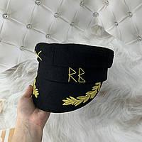 Жіночий картуз, кепі, кашкет RB з вишивкою чорний, фото 1