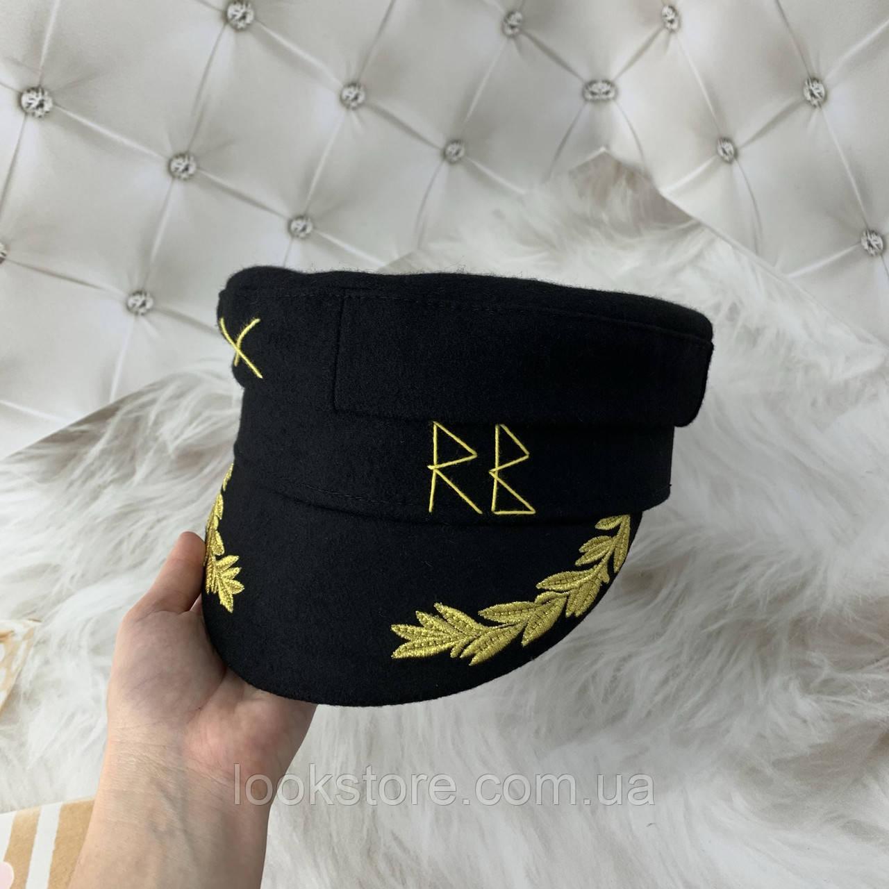 Жіночий картуз, кепі, кашкет RB з вишивкою чорний