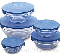 Набор стеклянных мисок с крышками Cooking Bowl 5 шт Blue, универсальные пищевые контейнеры.