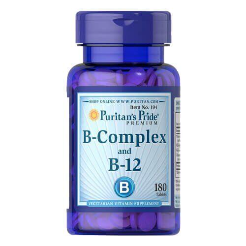 Комплекс витаминов группы B, Puritan's Pride Vitamin B-Complex and Vitamin B-12 180 таб