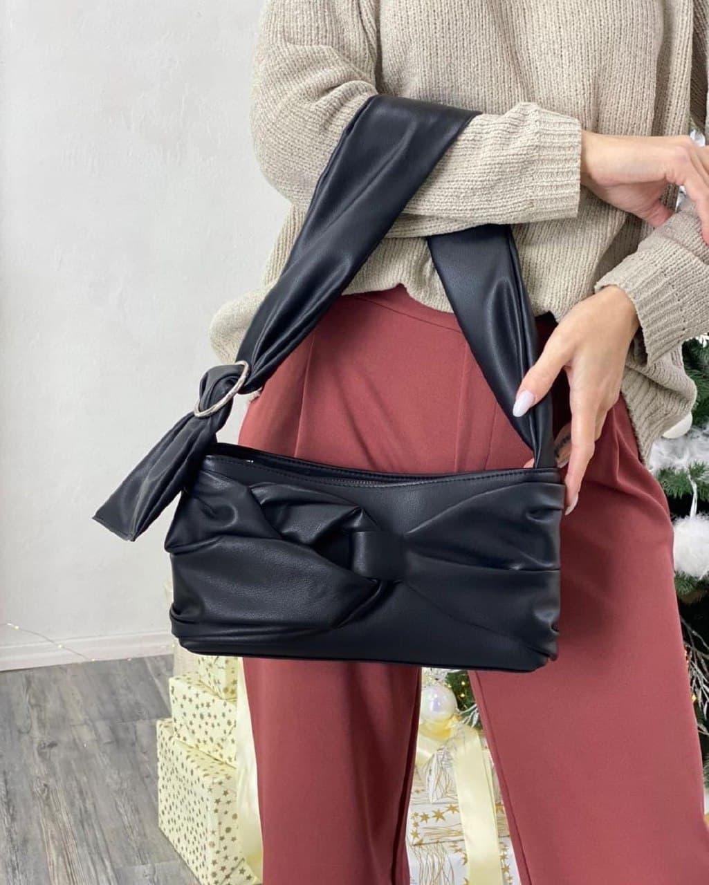 Женская кожаная сумка клатч polina&eiterou черная