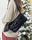 Женская кожаная сумка клатч polina&eiterou черная, фото 5