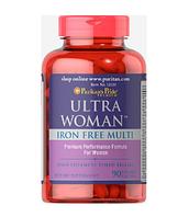 Витамины для женщин Puritan's Pride Ultra Woman™ Daily Multi-Iron Free 90 капс. Пуританс прайд