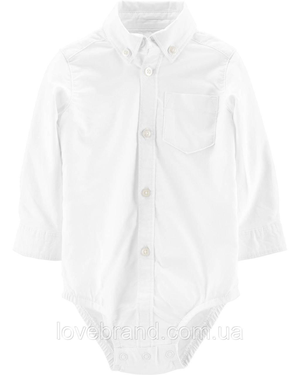 Рубашка боди OshKosh для мальчика белый, нарядная рубашка для малыша 24 мес/83-86 см