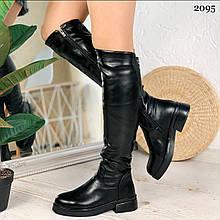 Жіночі чоботи чорні ЗИМА еко-шкіра