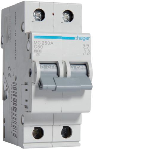 Автоматичний вимикач Hager MC250A. Ін=50А, 2P, хар-ка C
