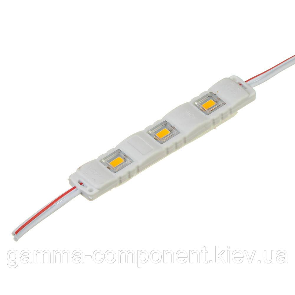 Светодиодный модуль (кластер)smd5730 3led 1W белый тёплый МТК 12 V IP65