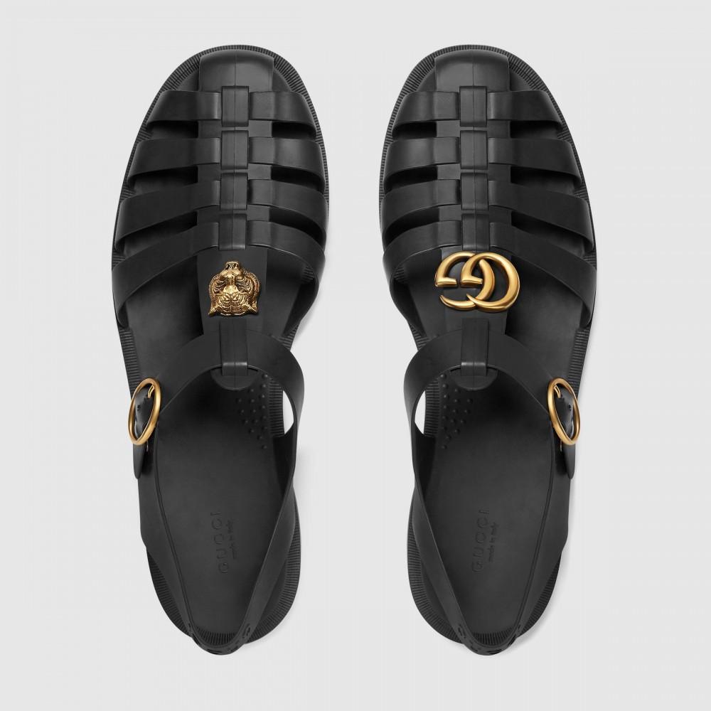 Сандалии Gucci Rubber Buckle Strap Black