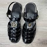 Сандалии Gucci Rubber Buckle Strap Black, фото 7