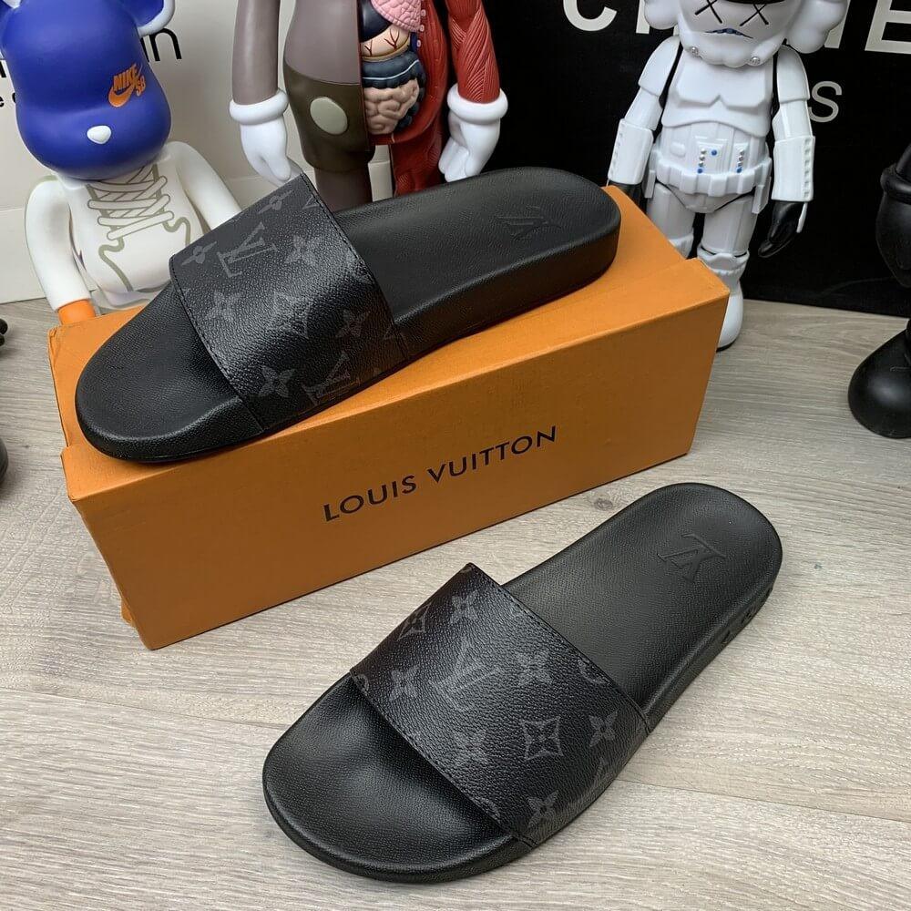 Louis Vuitton Waterfront Slide Sandals Monogram Eclipse