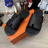 Шлепанцы Hermes Izmir Leather Black, фото 4