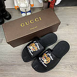Шлепанцы Gucci GG Supreme Tigers Black, фото 2