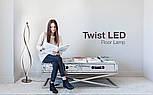Светодиодный напольный LED торшер спираль с диммером Серебряный, фото 5