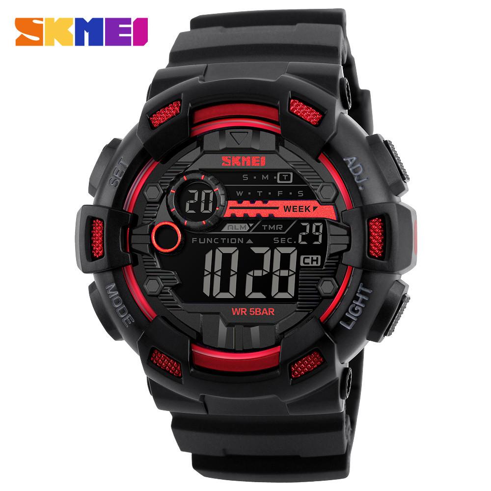 Skmei 1243 champion черные с красным мужские спортивные часы