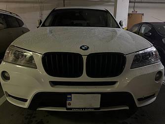 Решетка радиатора BMW X3 F25 (10-14) ноздри  (глянц рамка + полоски мат)