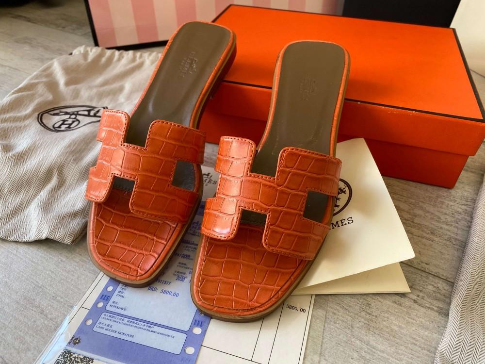 Hermes Oran Sandal H Croco Red
