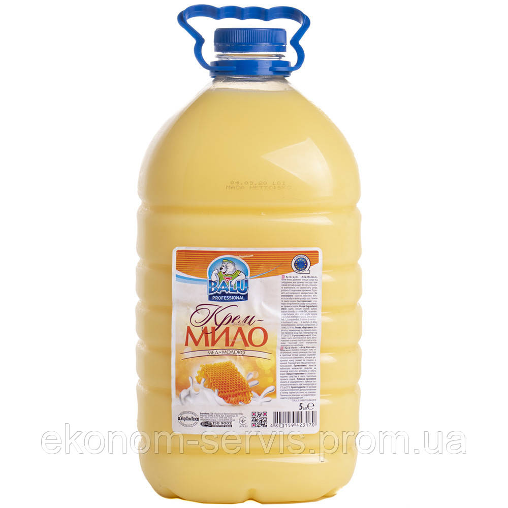 Крем-мило BALU, мед-молоко, баклажка, 5л