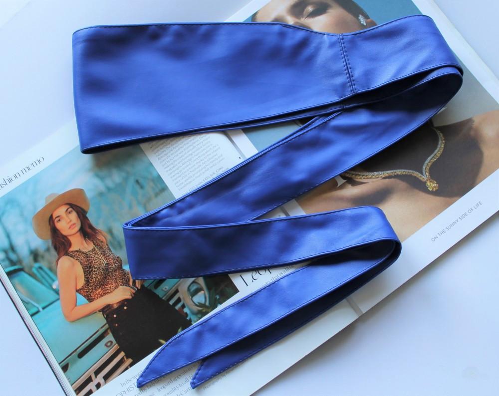 Широкий пояс кушак женский ярко синий