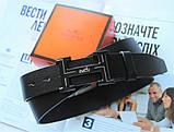 Кожаный мужской  с черной пряжкой ремень Hermes черный, фото 2