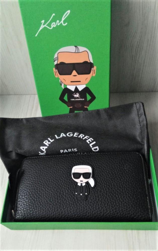 Кошелек Karl Lagerfeld из экокожи черный