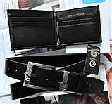 Мужской подарочный набор Philipp Plein - кожаный ремень и кошелек black, фото 2