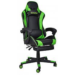 Кресло игровое геймерское с подставкой для ног стул раскладной с системой качания TILT зеленый