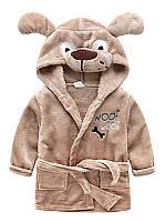 Детский коричневый халат с капюшоном в виде собачки 2-4 года